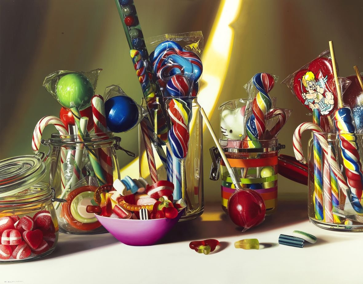 hyperrealism, hyperrealist, art, hyperrealistic, iperrealismo, oil on canvas, paintings, photorealism, candy, candy paintings, still life, still life paintings, roberto bernardi,