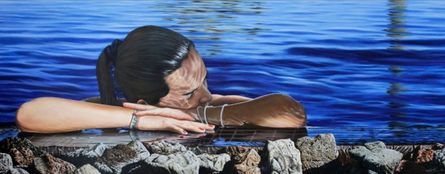 hyperrealism, hyperrealist, art, hyperrealistic, iperrealismo, oil on canvas, paintings, photorealism, portrait, gustavo fernandes, sea, reflections,